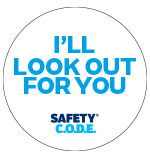 White look out badge